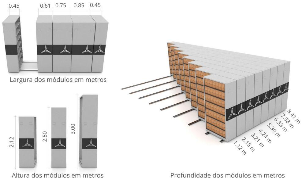Arquivo deslizante Dimensões smart